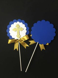Hi this listing is for 1 centerpieces stick ready to use for your event. are the perfect for Decorations, Baptism Decorations or Communion Centerpieces. Measure Shape: 5.30 wide by 5.25 in tall. there are Options you can choose One side and Double side( its mean that the shape Communion Centerpieces, Diy Centerpieces, Baby Boy Christening, Boy Baptism, Baptism Decorations, First Holy Communion, Confetti, Projects To Try, Birthday Parties