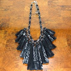 Black Leather Tassel Necklace/ Statement by ChandraJewelry on Etsy