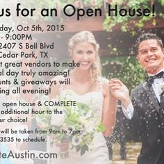 LUX preferred partner #OpenHouse Oct 5 from 5-9 pm  2407 S Bell Blvd Cedar Park #Complete Weddings  Events Austin #completeaustin #completemusic #completephoto #completevideo #completewed #Engagement Photography #wedding #weddingbliss