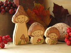 cute mushroom family of 3