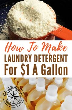How To Make Liquid Laundry Detergent For $1 A Gallon - Just three ingredients is all you'll need to make gallons of liquid laundry detergent. Get those whites bright and colors clean with this easy mixture you can make and store for months.