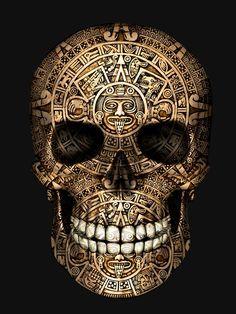 Aztec Tattoo Designs, Skull Tattoo Design, Skull Tattoos, Tatoos, Mayan Tattoos, Mexican Art Tattoos, Aztec Drawing, Azteca Tattoo, Totenkopf Tattoos