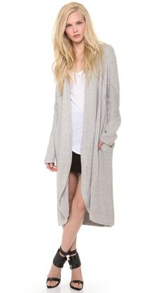 Helmut Lang Long Textured Cardigan in an open design. Length: 38in / 97cm, from shoulder