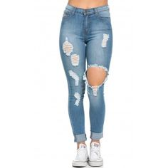 High Waisted Distressed Skinny Jeans in Blue ($40) ❤ liked on Polyvore featuring jeans, high waisted distressed skinny jeans, denim skinny jeans, stretch jeans, skinny jeans and distressed jeans
