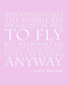 "16""x20"" Aerodynamic Bumble Bee Quote Mary Kay Ash. $30.00, via Etsy."