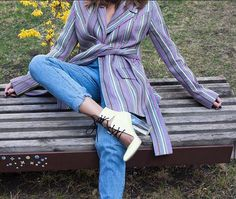 WEBSTA @ mariamgvasaliaofficial - Beautiful colors of the Spring 🌸Jacket and shoes by Mariam Gvasalia. In stock!!!Get them at our store, Address: Leselidze str. 27/1📍 Old Tbilisi#mariamgvasalia #georgiandesigner #mariamgvasaliashoes #mariamgvasaliaclothing #mariamgvasaliastudio #fashion #spring #mood #inspiration #yellow #stripes