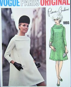 1960s MOD PIERRE CARDIN TENT DRESS PATTERN BEAUTIFUL COLLAR VOGUE PARIS ORIGINAL 1895. Loved those classy styles in the 60's!