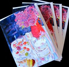 $16.50  for set of 4 cards | Tea Party cake sandwiches  Watercolor Art  Cards by PatChoffrut