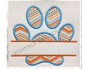 Split Paw Print Applique Machine Embroidery Design (Straight Version) - 4 Sizes