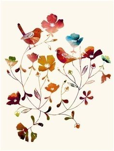 """Watercolor Illustration of two love birds titled """"Little Sparrows (rainbow edition)"""" - love this print!"""