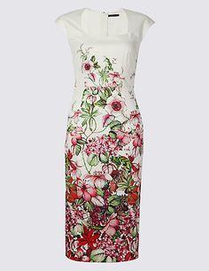 cef7af7e7a M s Collection Cotton Rich Floral Print Bodycon Midi Dress