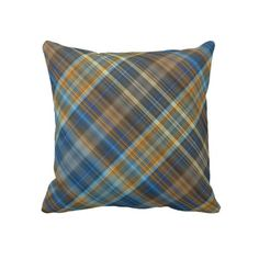 Blue orange plaid Pillow ~   A digital pattern of lines in shades of orange, and light and dark sky blue, in diagonal striped checks or tartan.