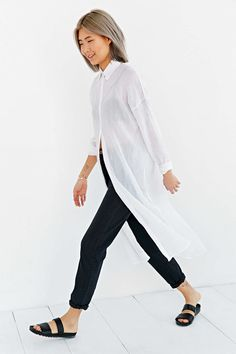 BDG Maxi Gauze Button-Down Shirt - Urban Outfitters