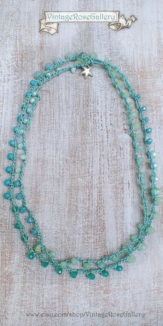 Aqua Mint 6 Wrap Crocheted Bracelet, Crochet Boho Chic Necklace, Summer Boho Necklace by VintageRoseGallery Etsy Jewelry, Jewelry Shop, Boho Jewelry, Jewelry Crafts, Beaded Jewelry, Crochet Jewellery, Jewelry Accessories, Crochet Bracelet, Beaded Crochet