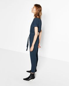 Image 1 of LONG CROSSOVER JUMPSUIT from Zara