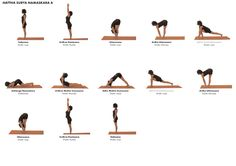 A look at the health benefits generated by the ancient practice of surya namaskar, the sequence of yoga postures that comprise the Indian traditional Sun Salutation Yoga Sequences, Yoga Poses, Sun Salutation Sequence, Surya Namaskara, Pilates Workout, Yoga Workouts, Exercises, Ashtanga Yoga, Yoga For Kids