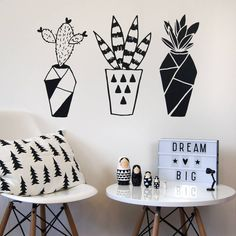 Geometric Cactus Wall Stickers Home Decor Living Room Creative Plant Wall Decoration Removable Vinyl Wall Decals Bedroom Cheap Wall Stickers, Wall Stickers Home Decor, Black Wall Stickers, Room Stickers, Removable Vinyl Wall Decals, Wall Drawing, Deco Floral, Mural Wall Art, Plant Wall