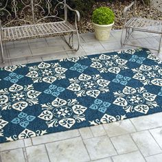 Multifunctional Indoor Outdoor Rugs Target: Blue Indoor Outdoor Rugs Target For Innovative Patio Decor With Tuscan Floor And Iron Bench Iron Bench, Target Rug, Clearance Rugs, Indoor Outdoor Area Rugs, Modern Rugs, Decoration, Patio, Flooring, Painting