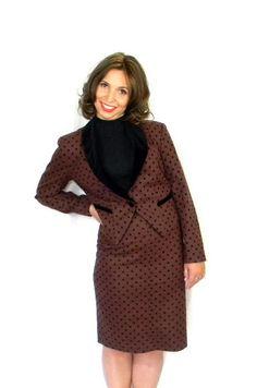 80s Skirt Jacket Set. Brown Black Polka Dot 2 by ChickClassique, $62.00