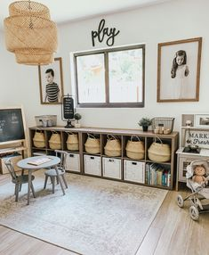 Farmhouse playroom decor - Our Home - Love the little space I designed for my kids 🖤 they love to be in here & learn and play!