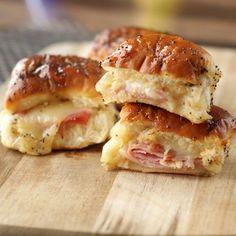 Sweet Ham and Swiss Sliders #ham #swiss #cheese #snack