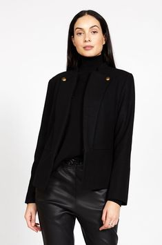 force jacket / black   moochi clothing Black Force, Blazer Jacket, Leather Jacket, Mesh Socks, Leather Stamps, Blazer Fashion, Princess Seam, Passion For Fashion, Black Pants