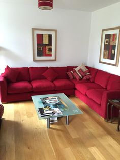 Wadenhoe RHF Corner Unit in Fisher Red And Andrew Martin Scatters.  This model and fabric can be ordered online.