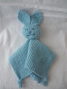Free knitting pattern for Bunny BBF lovey comfort woobie baby blanket