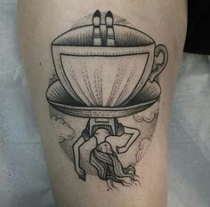 So cute Alice teacup dotwork tattoo