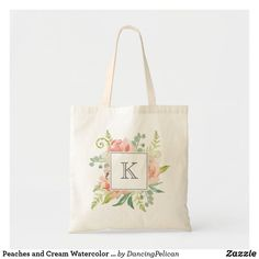 Peaches and Cream Watercolor Floral with Monogram Tote Bag. A beautifully feminine bouquet of watercolor peonies, ferns and greenery peek out from a square frame and custom monogram that you can edit with your desired initial or other text. Monogram Tote Bags, Monogram Gifts, Canvas Tote Bags, Personalized Gifts, Budget Fashion, Coral Blue, Cute Bags, Peaches, Floral Watercolor