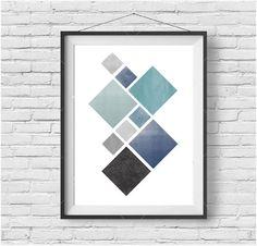 Blue Geometric Print Colorful Wall Art Scandinavian Art Blue Nursery Art Blue Home Decor Abstract Art Contemporary Print INSTANT DOWNLOAD