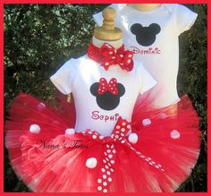 twin girls minnie mouse party ideas | Girl and boy Minnie and Mickey Party outfits