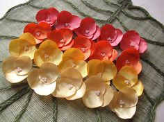 Satin fabric hydrangea flower appliques floral by JujaCrafts, $15.00. USA