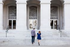 Engagement Portrait Walking up Stairs | State Capitol Downtown Sacramento Engagement Photography - Chico California Wedding Photography and Videography by Chico Photographer Videographer Couple TréCreative