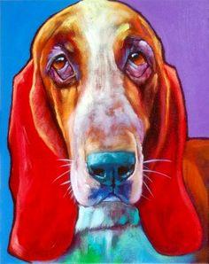 "Ron Burns, """"Roamer"","" ""14"" x 11""  #dog #painting"