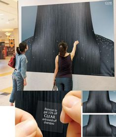 The proposition of this ad is to sell Clear's anti dandruff shampoo. The tar…, – dandruff shampoo Guerilla Marketing, Street Marketing, Experiential Marketing, Marketing Quotes, Marketing Tools, Business Marketing, Internet Marketing, Creative Advertising, Guerrilla Advertising
