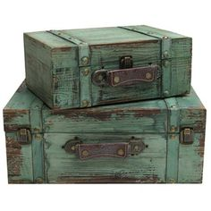 Turquoise Solid Wood Rectangle Rustic Trunks with Lining | Shop Hobby Lobby