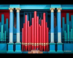 Unusually colored organ pipes in Glenstal Abbey, Limerick, Ireland. One would hope that no speaker is standing at the podium while the organ is being played! St Columba, Limerick Ireland, Instrument Sounds, Sound Installation, Old Wall, Pipe Dream, Stage Set, St Joseph, Mars