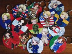 Hetalia keychains by SubaruShop on Etsy | Really want these !!