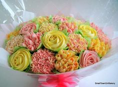 Realistic Cupcake bouquets and stunning cake creations to make your celebration extra special. Elegant Cupcakes, Beautiful Cupcakes, Cupcake Bouquets, Cookie Bouquet, Cake Cookies, Cupcake Cakes, Mothers Day Cupcakes, Vanilla Cupcakes, Freshly Baked