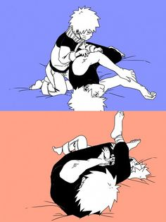 Naruto and Kakashi. Holy crap, Kakashi's mask is off and Naruto ain't reacting to it!