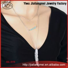Fashion BIG metal feather tassel women necklace turquoise multilayer chain for YIWU