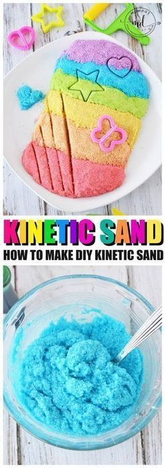Kinetic Sand Recipe How to make Kinetic Sand is part of Make kinetic sand - Kinetic Sand Recipe, learn How to make Kinetic Sand, a copycat DIY kinetic sand recipe at home with cornstarch, soap and other household ingredients, moon sand Fun Crafts For Kids, Arts And Crafts Projects, Summer Crafts, Toddler Crafts, Crafts To Do, Diy For Kids, Activities For Kids, Dyi Projects For Kids, Sand Art For Kids