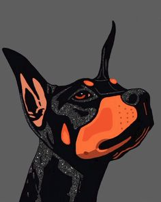 Doberman pinscher art painting ink acrylic by AnimalArtIncognito