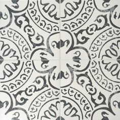 Merola Tile Arte Black Encaustic in. Porcelain Floor and Wall Tile sq. / - The Home Depot Ceramic Subway Tile, Glass Mosaic Tiles, Wall Tiles, Backsplash Tile, Tile Flooring, Moroccan Tile Backsplash, Tile Mosaics, Hex Tile, Pebble Mosaic