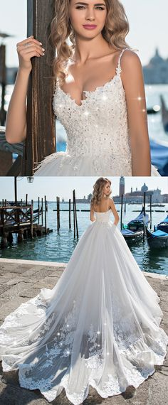 Fashionable Tulle Spaghetti Straps Neckline Ball Gown Wedding Dress With Beaded Lace Appliques