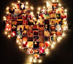Create a cute heart-shaped memory wall with your favorite photos and fairy lights. #PANDORAloves #DIY