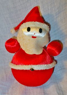 VINTAGE ROLY POLY SANTA WITH RED SATIN BODY FIGURE FIGURINE CHRISTMAS DECORATION in Collectibles, Holiday & Seasonal, Christmas: Modern (1946-90) | eBay