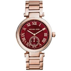 Michael Kors Skylar Red Dial Rose Gold Steel Ladies Watch ($148) ❤ liked on Polyvore featuring jewelry, watches, michael kors jewelry, red watches, analog watches, roman numeral jewelry and red jewelry
