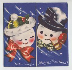 Vintage Snowman Smoking Pipe Christmas Greeting Card